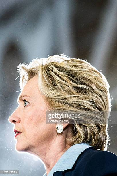 Democratic presidential nominee former Secretary of State Hillary Clinton greets supporters during a campaign rally at Goodyear Hall and Theatre on...