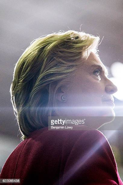 Democratic presidential nominee former Secretary of State Hillary Clinton speaks during a Pennsylvania Democrats voter registration event at Zembo...