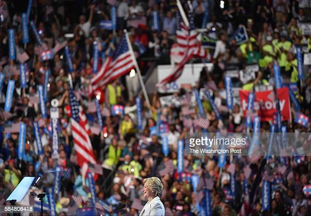Democratic presidential nominee Hillary Clinton addresses the crowd on the last day of the Democratic National Convention at the Wells Fargo Center...