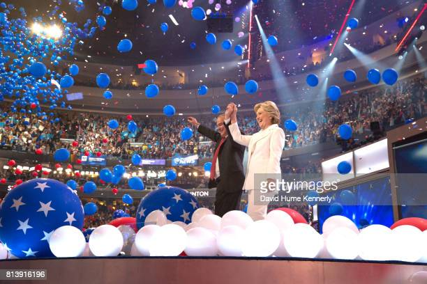 Democratic Presidential Nominee Hillary Clinton and Vice-Presidential Nominee Tim Kaine celebrate on stage at the end of the Democratic National...