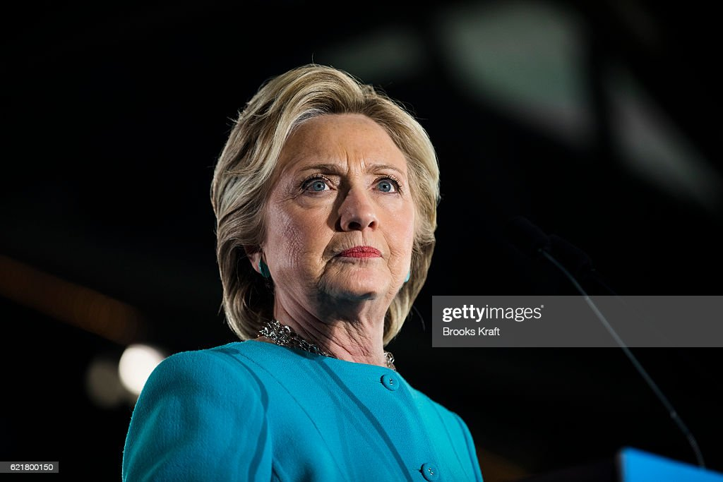 Democratic presidential nominee Hillary Clinton appears at a campaign rally, November 6, 2016 in Manchester, New Hampshire.