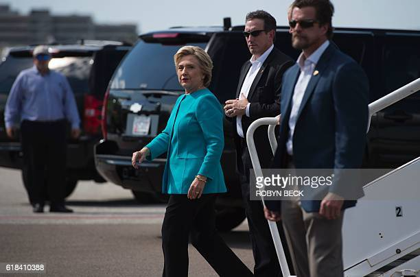 Democratic presidential nominee Hillary Clinton arrives at at Tampa International Airport in Tampa Florida on her way to a campaign stop in Tampa...
