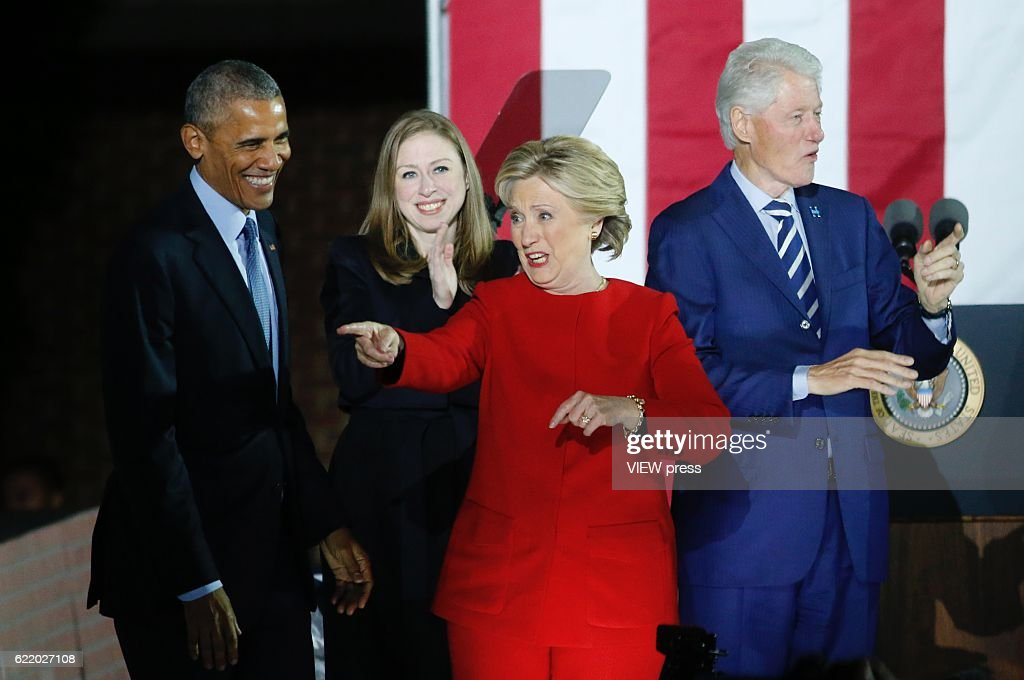 Hillary Clinton, U.S. President Barack Obama and first lady Michelle Obama during Campaign in Pennsylvania : News Photo