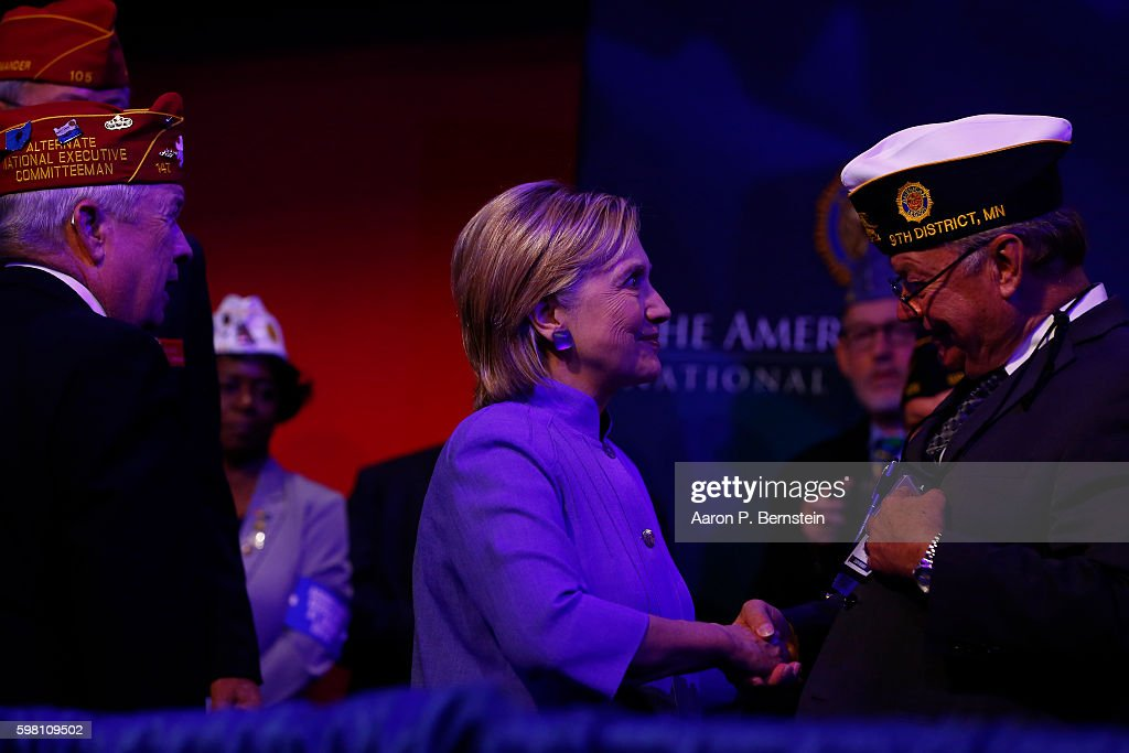 Democratic presidential nominee Hillary Clinton greets attendees at the American Legion Convention August 31, 2016 in Cincinnati, Ohio. Clinton spoke about her vision for America's military and foreign policy.
