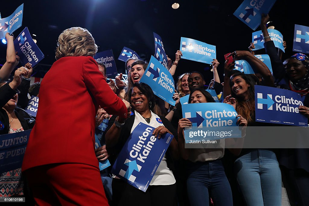 Democratic presidential nominee Hillary Clinton greets supporters during a debate-watch party at The Space at Westbury on September 26, 2016 in Westbury, New York. Tonight was the first of four debates for the 2016 election - three presidential and one vice presidential.