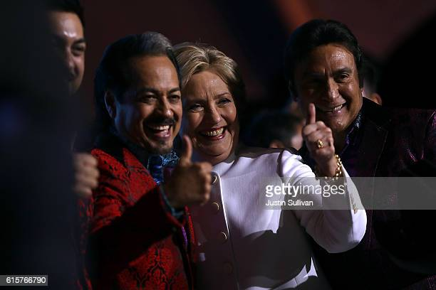 Democratic presidential nominee Hillary Clinton greets supporters during a debate watch party at Craig Ranch Regional Park Amphitheater following the...