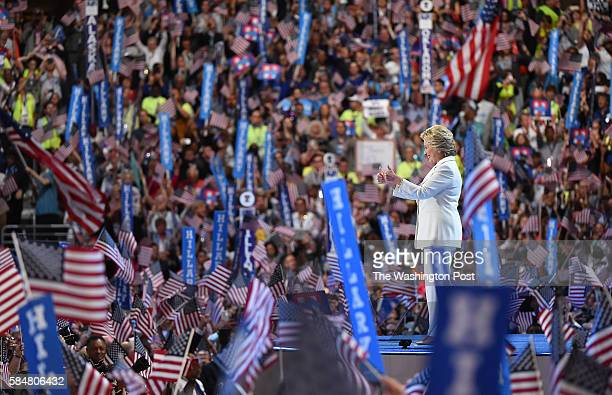Democratic presidential nominee Hillary Clinton is greeted by the crowd before addressing them on the last day of the Democratic National Convention...