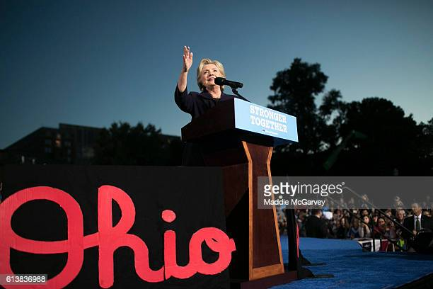 Democratic presidential nominee Hillary Clinton speaks at Ohio State University on October 10 2016 in Columbus Ohio A day after the second...