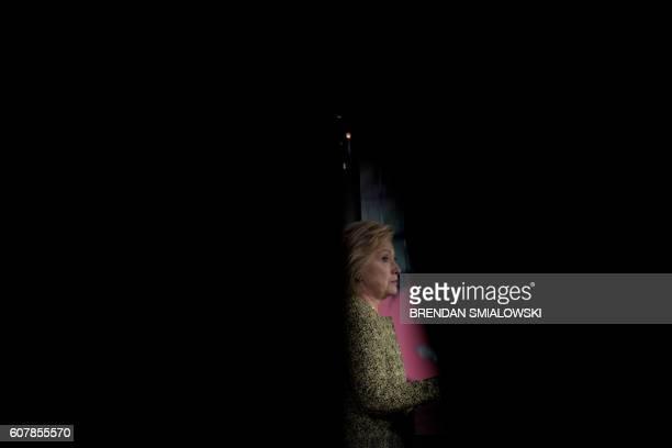 Democratic presidential nominee Hillary Clinton speaks at Temple University on September 19, 2016 in Philadelphia, Pennsylvania. / AFP / Brendan...