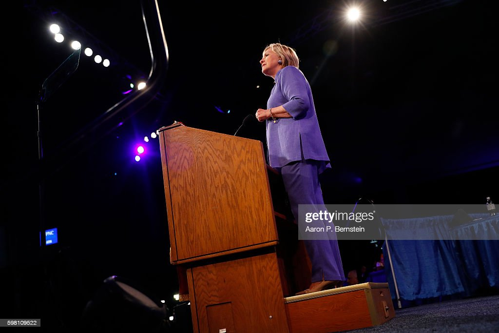 Democratic presidential nominee Hillary Clinton speaks at the American Legion Convention August 31, 2016 in Cincinnati, Ohio. Clinton spoke about her vision for America's military and foreign policy.