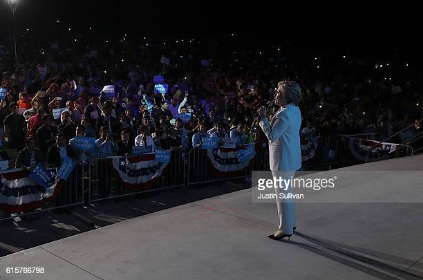 Democratic presidential nominee Hillary Clinton speaks during a debate watch party at Craig Ranch Regional Amphitheater following the third US...
