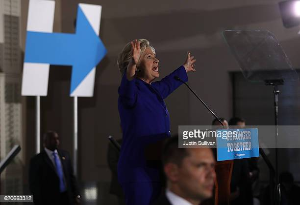 Democratic presidential nominee Hillary Clinton speaks during a campaign rally at UA Local 525 Plumbers and Pipefitters Union hall on November 2,...
