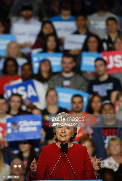 Democratic presidential nominee Hillary Clinton speaks during a rally at the Grand Valley State University Fieldhouse November 7, 2016 in Allendale,...