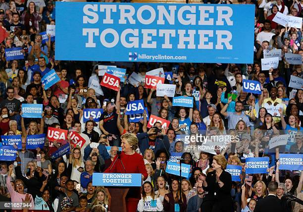 Democratic presidential nominee Hillary Clinton speaks during a rally at the Grand Valley State University Fieldhouse November 7 2016 in Allendale...