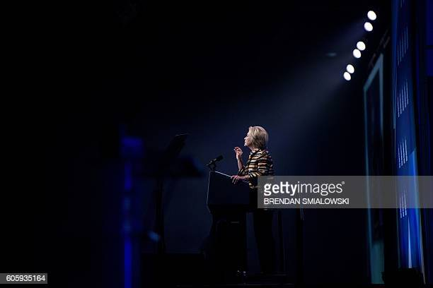 TOPSHOT Democratic presidential nominee Hillary Clinton speaks during the Congressional Hispanic Caucus Gala September 15 2016 in Washington Hillary...