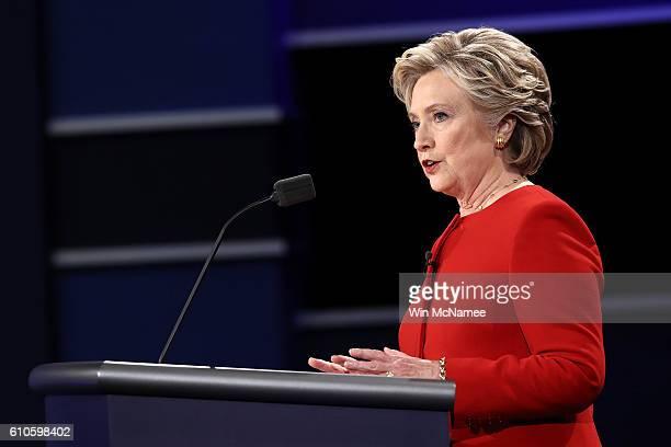 Democratic presidential nominee Hillary Clinton speaks during the Presidential Debate at Hofstra University on September 26 2016 in Hempstead New...