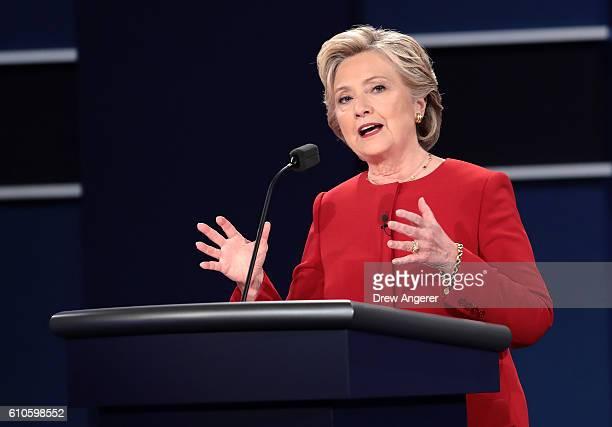 Democratic presidential nominee Hillary Clinton speaks during the Presidential Debate at Hofstra University on September 26, 2016 in Hempstead, New...