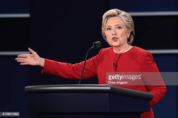Democratic presidential nominee Hillary Clinton speaks during the Presidential Debate at Hofstra University on September 26 2016 in Hempstead New...