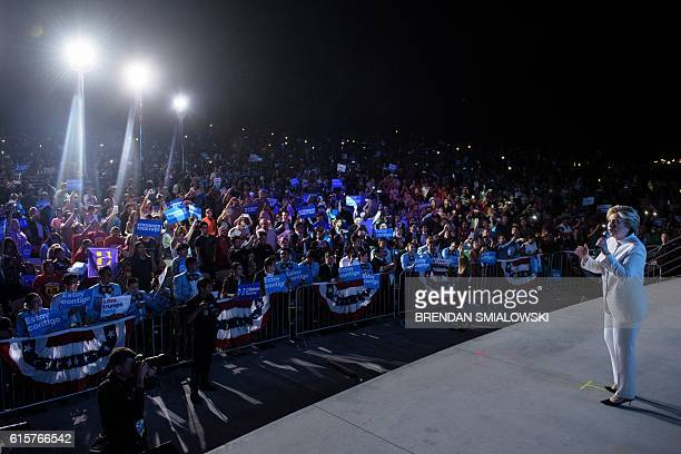 Democratic presidential nominee Hillary Clinton speaks to supporters at Craig Ranch Regional Park Amphitheater after the final presidential debate at...