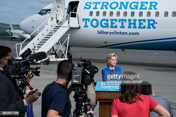 Democratic presidential nominee Hillary Clinton speaks to the press at Westchester County Airport September 8 2016 in White Plains New York Clinton...