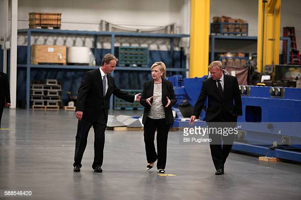Democratic presidential nominee Hillary Clinton tours Futuramic Tool Engineering before giving a speech there on the US economy August 11 2016 in...
