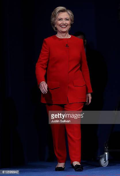 Democratic presidential nominee Hillary Clinton walks on stage before the start of the first presidential debate at Hofstra University on September...