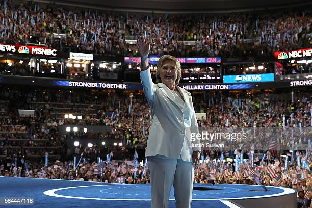 Democratic presidential nominee Hillary Clinton waves to the crowd on the fourth day of the Democratic National Convention at the Wells Fargo Center...