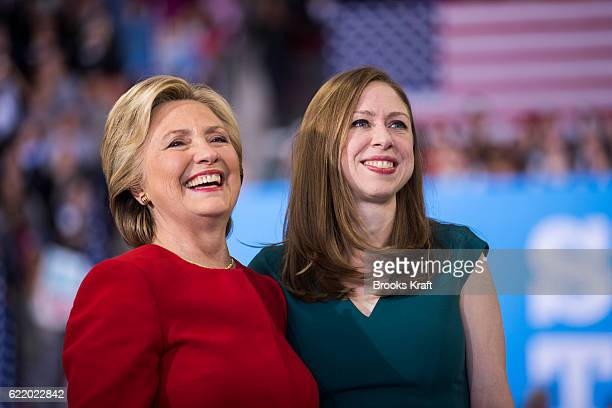 Democratic presidential nominee Hillary Clinton with her daughter Chelsea Clinton at a rally November 8 2016 in Raleigh North Carolina The final...