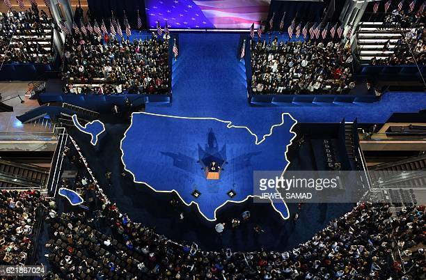 TOPSHOT Democratic presidential nominee Hillary Clinton's campaign manger John Podesta speaks during election night at the Jacob K Javits Convention...