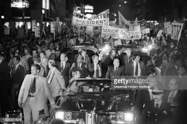 Democratic Presidential Nominee Jimmy Carter and Mayor Richard J. Daley ride in Torchlight Parade during Campaign Stop, Chicago, Illinois, USA,...