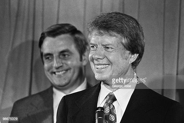Democratic presidential nominee Jimmy Carter taps Walter F Mondale as his Vice President running mate in this 1976 New York New York Democratic...