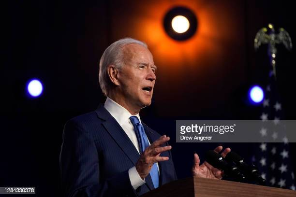 Democratic presidential nominee Joe Biden addresses the nation at the Chase Center November 06, 2020 in Wilmington, Delaware. The winner of the 2020...