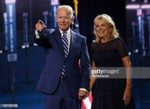 Democratic presidential nominee Joe Biden and his wife Dr. Jill Biden appear on stage after Democratic vice presidential nominee U.S. Sen. Kamala...