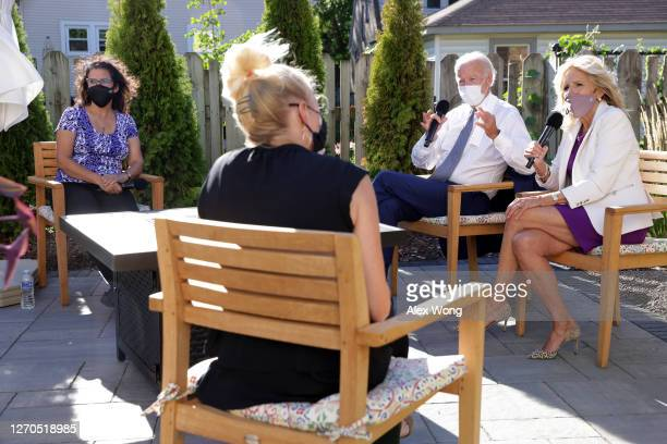 Democratic presidential nominee Joe Biden and his wife Dr. Jill Biden participate in a conversation with parents and educators September 3, 2020 in...