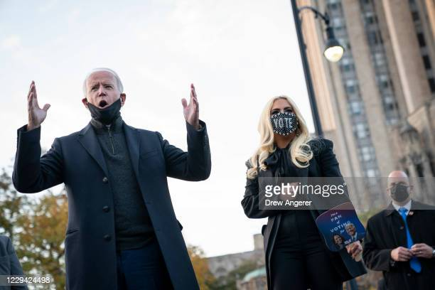 Democratic presidential nominee Joe Biden and Lady Gaga greet college students at Schenley Park on November 02, 2020 in Pittsburgh, Pennsylvania. One...