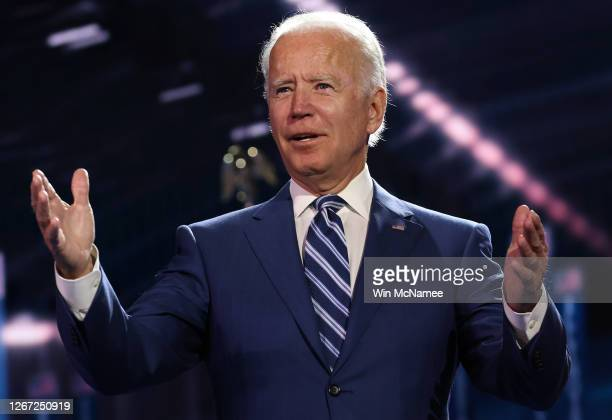 Democratic presidential nominee Joe Biden appears on stage after Democratic vice presidential nominee U.S. Sen. Kamala Harris spoke on the third...