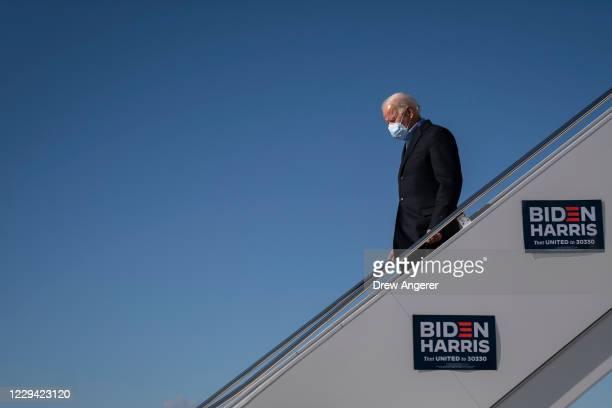 Democratic presidential nominee Joe Biden arrives at Pittsburgh International Airport on November 02, 2020 in Pittsburgh, Pennsylvania. One day...