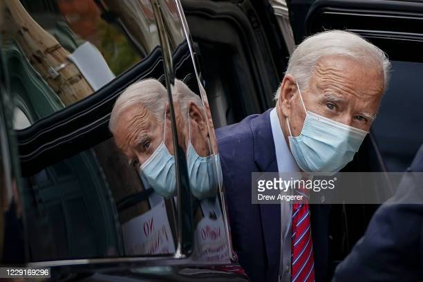 Democratic presidential nominee Joe Biden arrives at The Queen theater on October 19, 2020 in Wilmington, Delaware. According to the campaign, Biden...