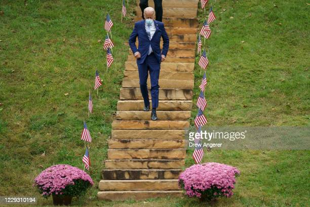 Democratic presidential nominee Joe Biden arrives for a campaign event at the Mountain Top Inn and Resort on October 27 2020 in Warm Springs Georgia...