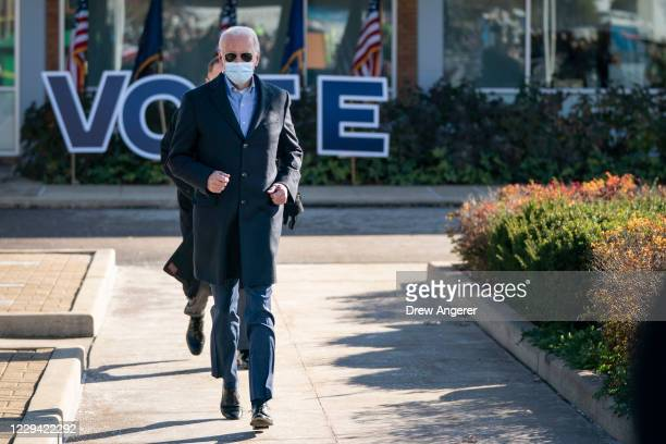 Democratic presidential nominee Joe Biden arrives to speak at a campaign stop at Community College of Beaver County on November 02, 2020 in Monaca,...