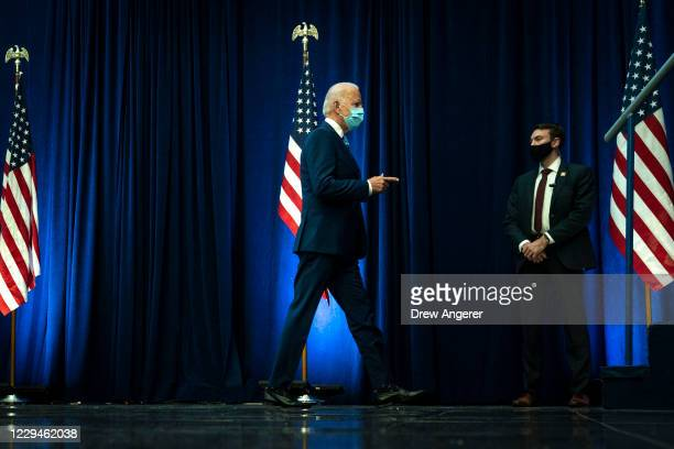 Democratic presidential nominee Joe Biden arrives to speak one day after Americans voted in the presidential election, on November 04, 2020 in...