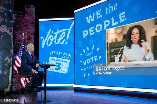 Democratic presidential nominee Joe Biden attends a virtual town hall event with Oprah Winfrey at The Queen theater on October 28, 2020 in...
