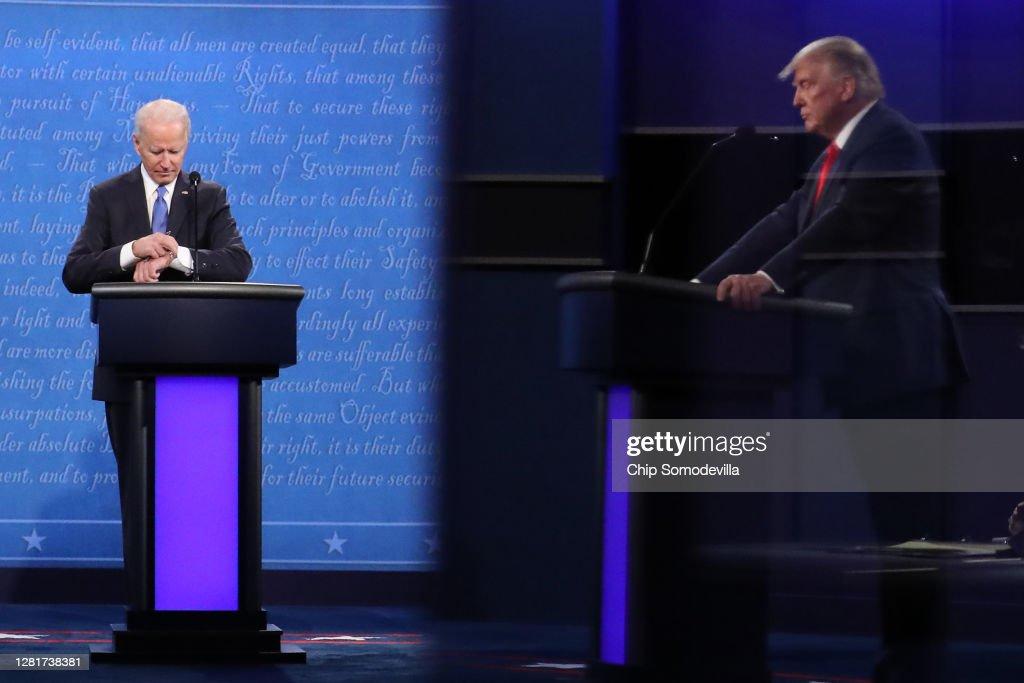 Donald Trump And Joe Biden Participate In Final Debate Before Presidential Election : News Photo