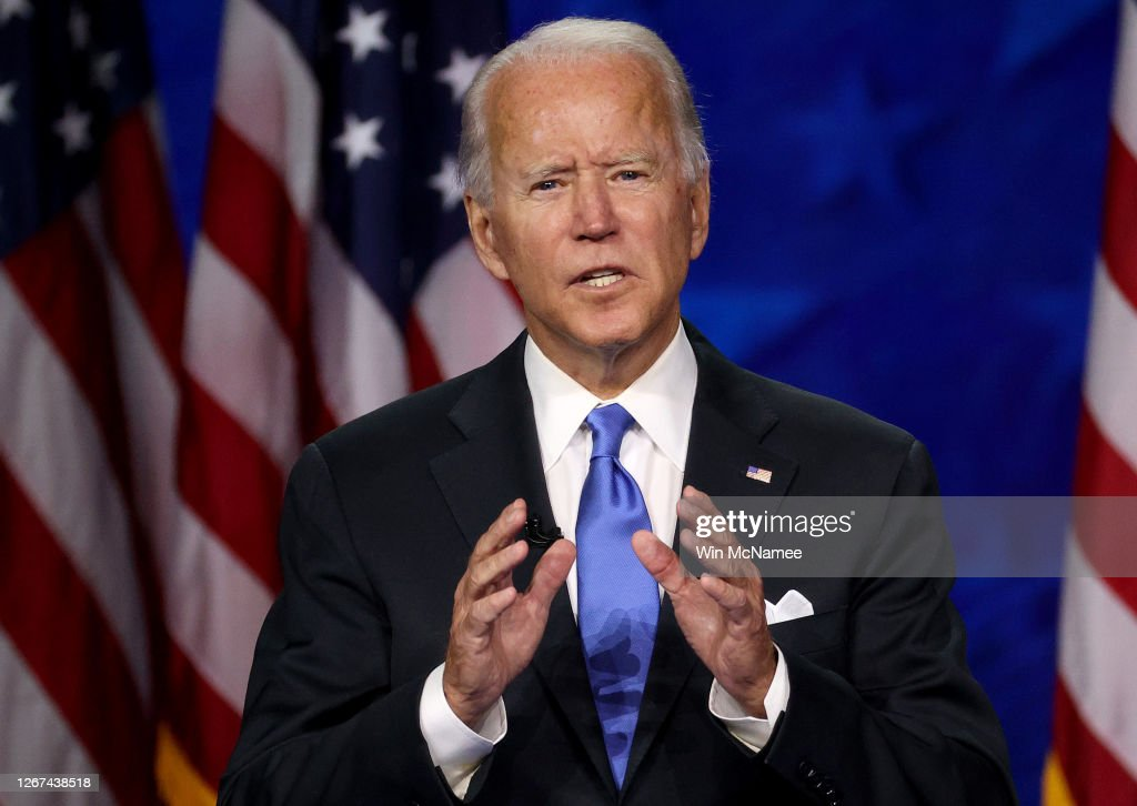 Joe Biden Accepts Party's Nomination For President In Delaware During Virtual DNC : News Photo