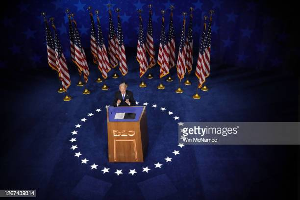 Democratic presidential nominee Joe Biden delivers his acceptance speech on the fourth night of the Democratic National Convention from the Chase...