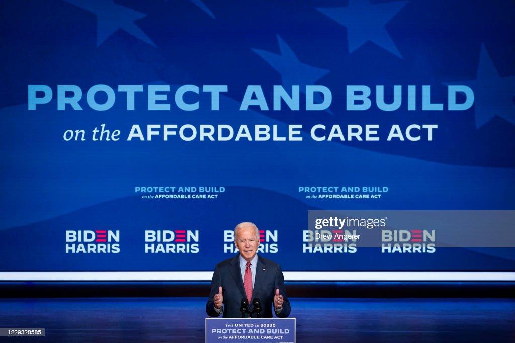 Democratic Presidential Nominee Joe Biden Gives Public Health Briefing In Wilmington : News Photo