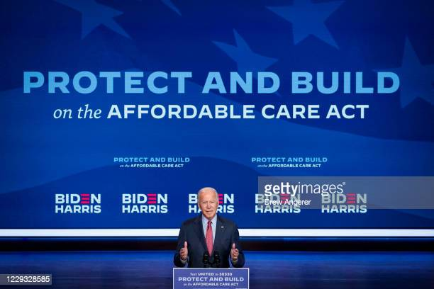 Democratic presidential nominee Joe Biden delivers remarks about the Affordable Care Act and COVID-19 after attending a virtual coronavirus briefing...