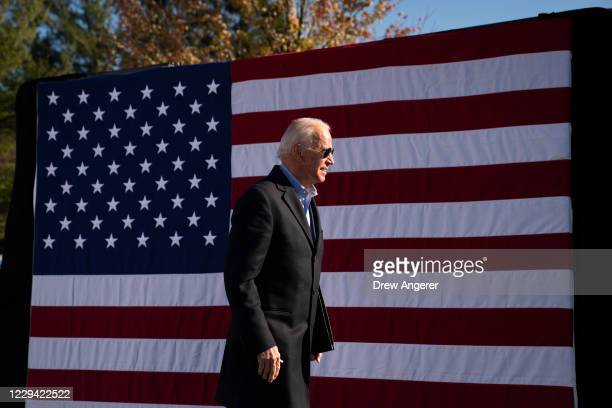 Democratic presidential nominee Joe Biden departs after speaking at a campaign stop at Community College of Beaver County on November 02, 2020 in...