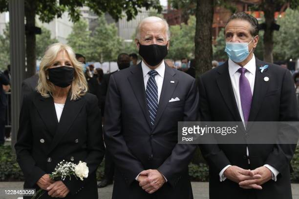 Democratic presidential nominee Joe Biden , Dr. Jill Biden and New York Gov. Andrew Cuomo attend a 9/11 memorial service at the National September 11...
