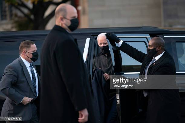 Democratic presidential nominee Joe Biden exits his motorcade for a campaign stop with Lady Gaga to greet college students at Schenley Park on...